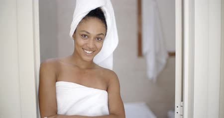 уход за кожей : Young Woman Wrapped In Towel