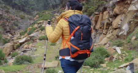 hiking : Active fit young woman on a hiking trail Stock Footage