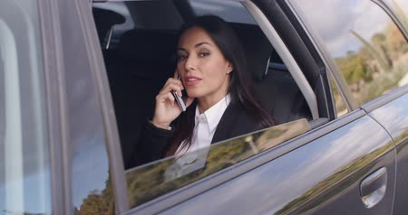 executivo : Beautiful business woman on phone in automobile Vídeos