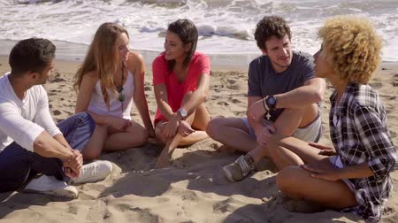 misturado : Group of diverse young friends chatting on a beach