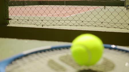 tennis game : Empty outdoor all weather tennis court Stock Footage