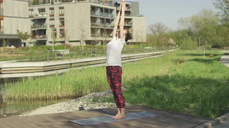 mantra : Side view of brunette in yoga posture in morning sunlight near water and grass Stock Footage