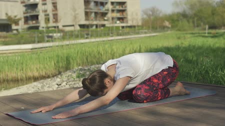 sufferance : nonymous brunette in white t-shirt training child yoga pose on mat in morning