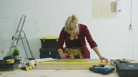 kontrplâk : Beautiful blond young female putting spirit level on plywood sheet placed on carpenter workbench with tools and instruments