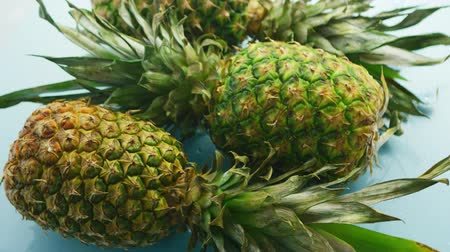 ve slupce : From above shot of arranged whole pineapples with green leaves composed in heap on blue background in daylight Dostupné videozáznamy