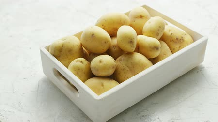 ve slupce : White container filled with clean fresh potatoes in soft daylight