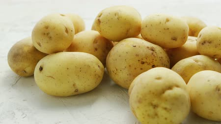 unpeeled : Closeup shot of pile of unpeeled clean potatoes composed on white surface in daylight Stock Footage