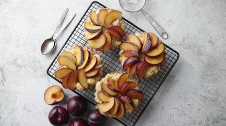 migalhas : Homemade crumble tarts with fresh plum slices placed on iron baking grill. Top lay on gray stone background with some whole plums, icing sugar, spoons on side