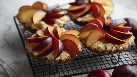 migalha : Close up of homemade crumble tarts with fresh plum slices placed on iron baking grill. Top lay on gray stone background with some whole plums, icing sugar, spoons on side