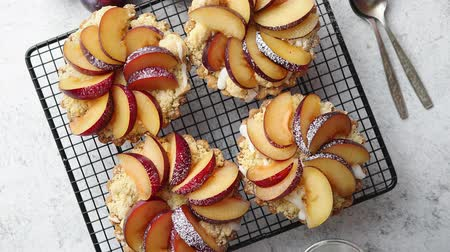 migalha : Homemade crumble tarts with fresh plum slices placed on iron baking grill. Top lay on gray stone background with some whole plums, icing sugar, spoons on side. Top view with copy space Stock Footage
