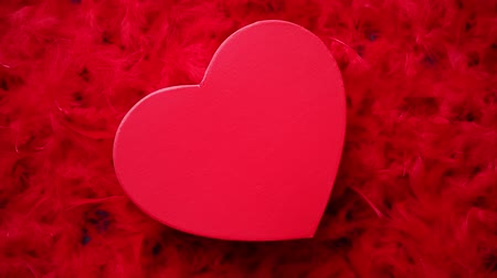 kokarda : Heart shaped boxed gift, placed on red feathers background. Valentines day or Romantic date concept. Top view shot. With copy space Wideo
