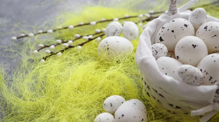bird eggs : Easter white dotted Eggs in the nest and spring yellow grass on stone table background.