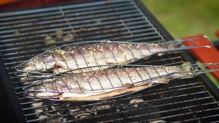 サバ : Tasty whole fishes placed on barbecue grill. Trout with herbs on fire. Aromatic dish in summer outdoor party