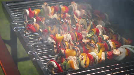 appetizing shish kebab : Overcooked and burned shashliks on hot barbecue grill. Stock Footage