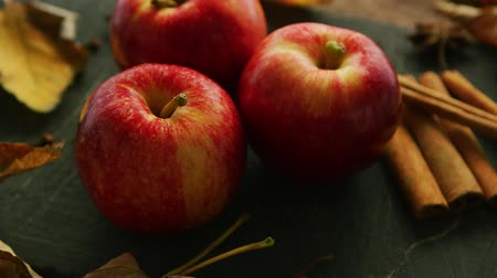 anijs : Red apples and cinnamon with anise on dark wooden table