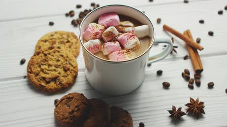 skořice : White mug filled with sweet cacao and marshmallows served on table with cookies and spices