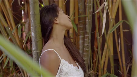 dantel : Charming young female with flowing dark hair and beautiful tanned skin leaning back on bamboo tree trunk and smiling Stok Video