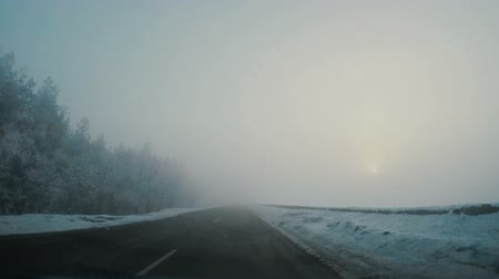 Driving car in winter in fog. The sun shines through the fog Stok Video