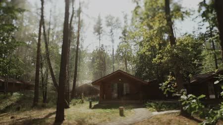 Wooden house in the forest.