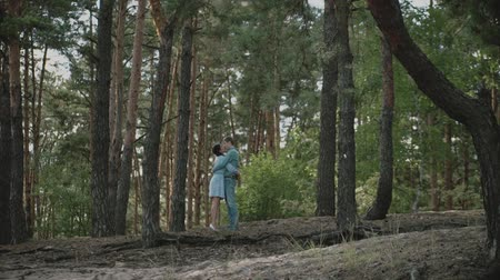 привязь : A young attractive couple walking through the forest with their happy dog.Couple in love play with the dog shiba in pine forest .Couple kisses and hugs in summer forest.Slow motion.