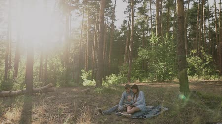 photo album : Couple sitting in picnic in the sunset forest. Family looking at their photo album sitting in the park. Happy couple with photo album.A young attractive couple walking through the forest with their happy dog. Stock Footage