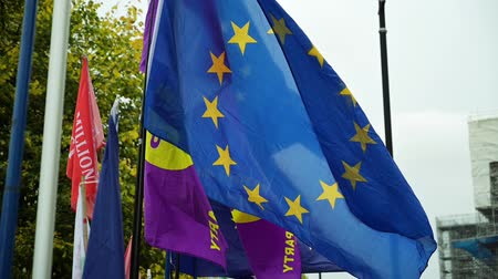 оставаться : LONDON - OCTOBER 23, 2019: EU flags and UKIP flag blowing in the wind in slow motion at Brexit demonstrations outside The Houses of Parliament
