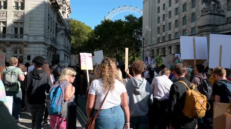 rebelião : LONDON - SEPTEMBER 20, 2019: Extinction Rebellion protesters marching along Horse Guards Avenue towards The London Eye