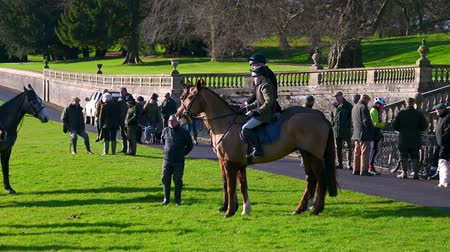Aske Hall, Richmond, North Yorkshire, UK - February 08, 2020: Horse riders and spectators waiting for a fox hunt to begin. Old stone walls and English gardens in the background