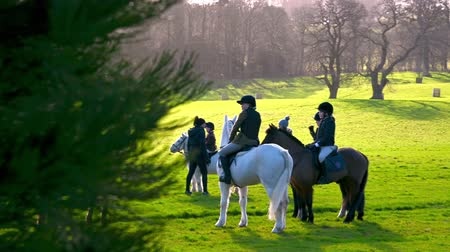 Aske Hall, Richmond, North Yorkshire, UK - February 08, 2020: Young horse riders revealed from behind a tree with English countryside in the background on a sunny day