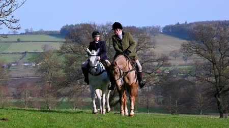 mounted : Aske Hall, Richmond, North Yorkshire, UK - February 08, 2020: Two horse riders at a fox hunt ride slowly towards the camera with the English countryside in the background Stock Footage