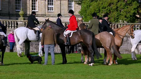 Aske Hall, Richmond, North Yorkshire, UK - February 08, 2020: Horse riding fox hunt official in traditional red coat gathered with other members of the field and waiting for the hunt to begin on a sunny day