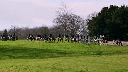 Aske Hall, Richmond, North Yorkshire, UK - February 08, 2020: Panning shot of a line of horse riding fox hunters as they ride through Capability Brown designed parkland