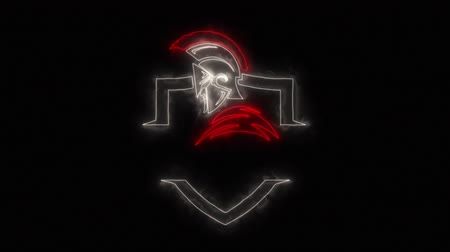 legion : Red White Spartan Warrior Logo Element with Reveal Effect