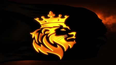 király : Golden Lion King Flag Intro Logo Motion Background Stock mozgókép