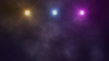 hármas : Colorful Triple Stage Lights and Smoke VJ Loop Background Stock mozgókép