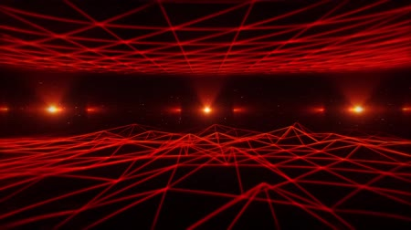 3D Red Sci-Fi Wireframe Grid Landscape VJ Loop Background