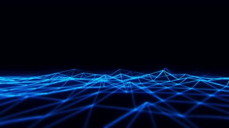 3D Blue Wireframe Grid Landscape Graphic Element Loopable Archivo de Video