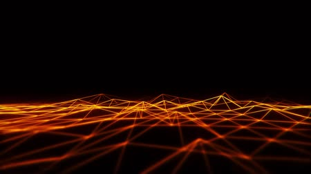 3D Orange Wireframe Grid Landscape Grafisches Element Loopable