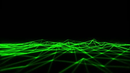 servers : 3D Green Wireframe Grid Landscape Graphic Element Loopable Stock Footage