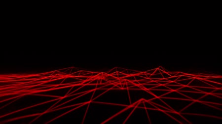 3D Red Wireframe Grid Landscape Grafisches Element Loopable Videos