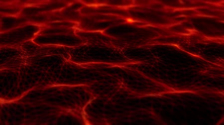 3D Red Flowing Wireframe Waves Loopable Motion Background Стоковые видеозаписи