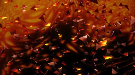 félrebeszél : 3D Orange Flying Abstract Triangles Loopable Motion Background Stock mozgókép