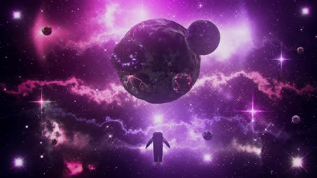távcső : Purple Sci-Fi Space Planets with Nebula & Astronaut Loop Background