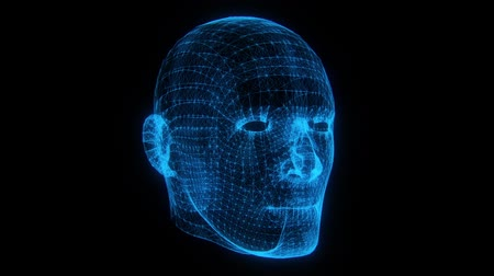 modelagem : Blue Wireframe Man Head Animation Loop Graphic Element