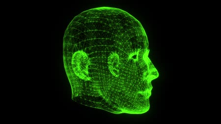 psyche : Green Wireframe Man Head Animation Loop Graphic Element Stock Footage