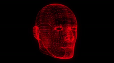 psyche : Red Wireframe Man Head Animation Loop Graphic Element