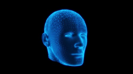 modelagem : Blue Wireframe Man Head Animation Loop Graphic Element V2