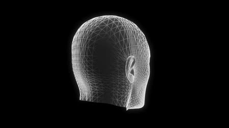 zwart wit : White Wireframe Man Head Animation Loop Graphic Element V2