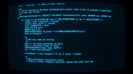 шифрование : Blue Keylogger C ++ Code on Screen Graphic Element Background