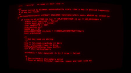 html : Red Keylogger C ++ Code on Screen Graphic Element Background